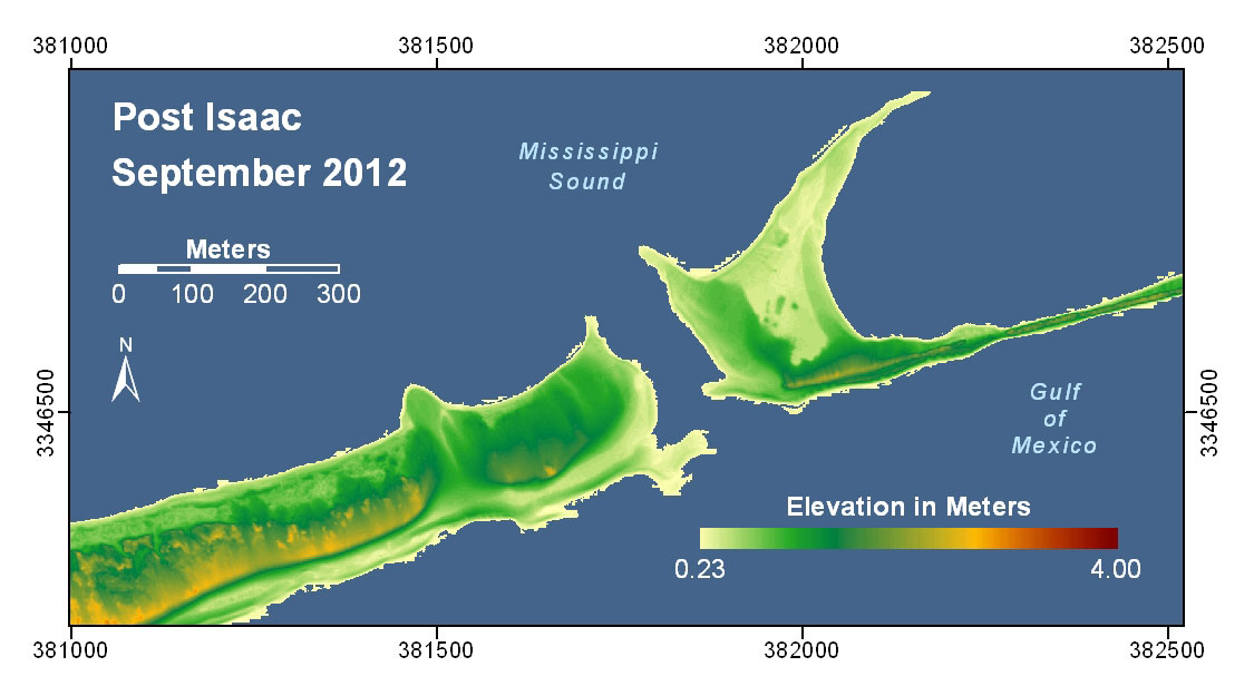 Pre And Post Storm 3d Lidar Topography Dauphin Island Al And