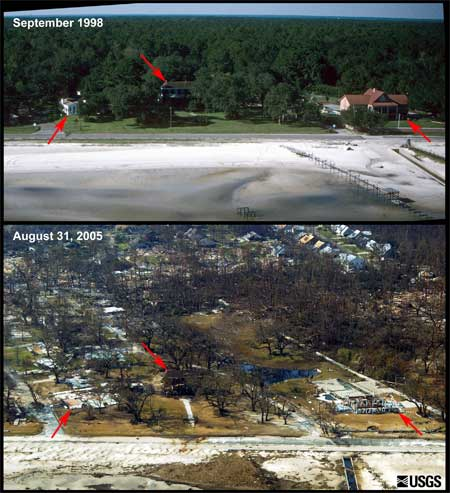 before and after photos showing detroyed large oceanfront homes
