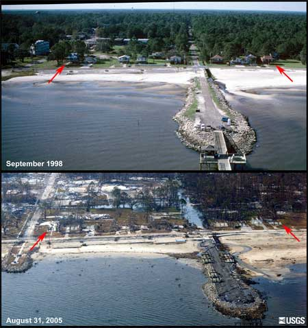before and after photos showing the landward extent of damage