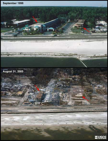 before and after photos showing an area where the only structure left standing is a small portion of a hotel