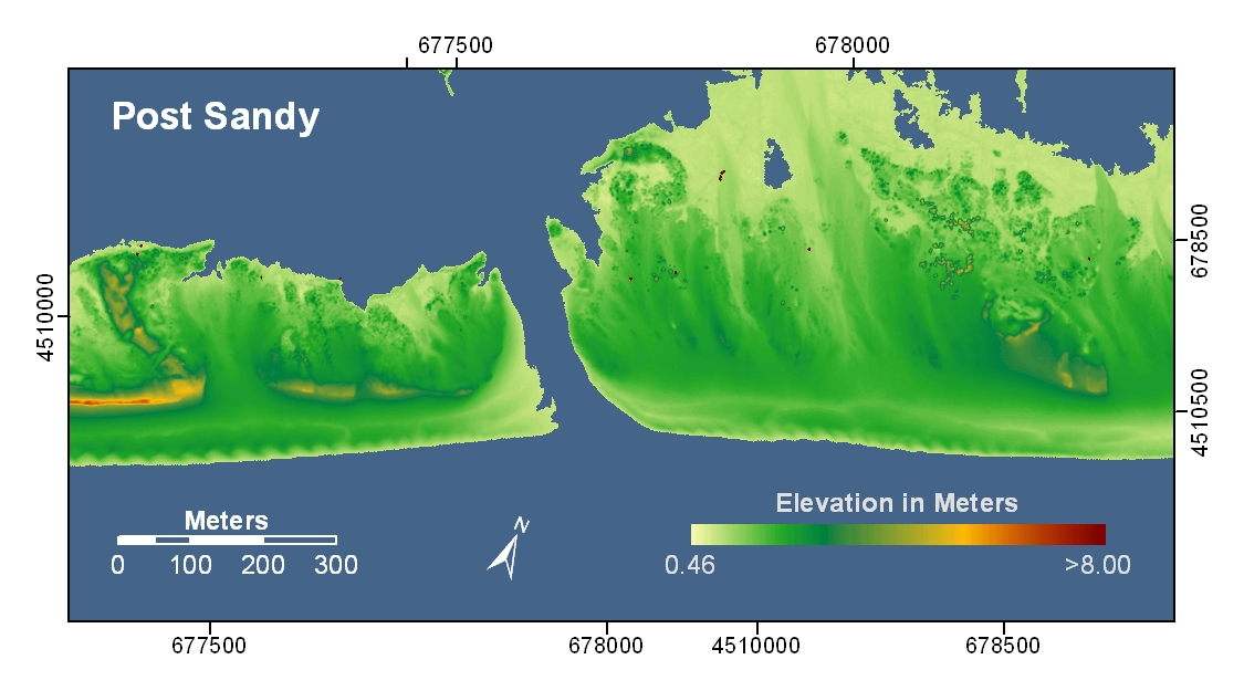 Nys Elevation Map.Pre And Post Storm 3d Lidar Topography For Fire Island Ny