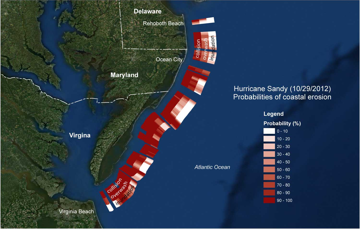 Probabilities of collision, overwash, and inundation for Sandy for the Atlantic coast of Delmarva.
