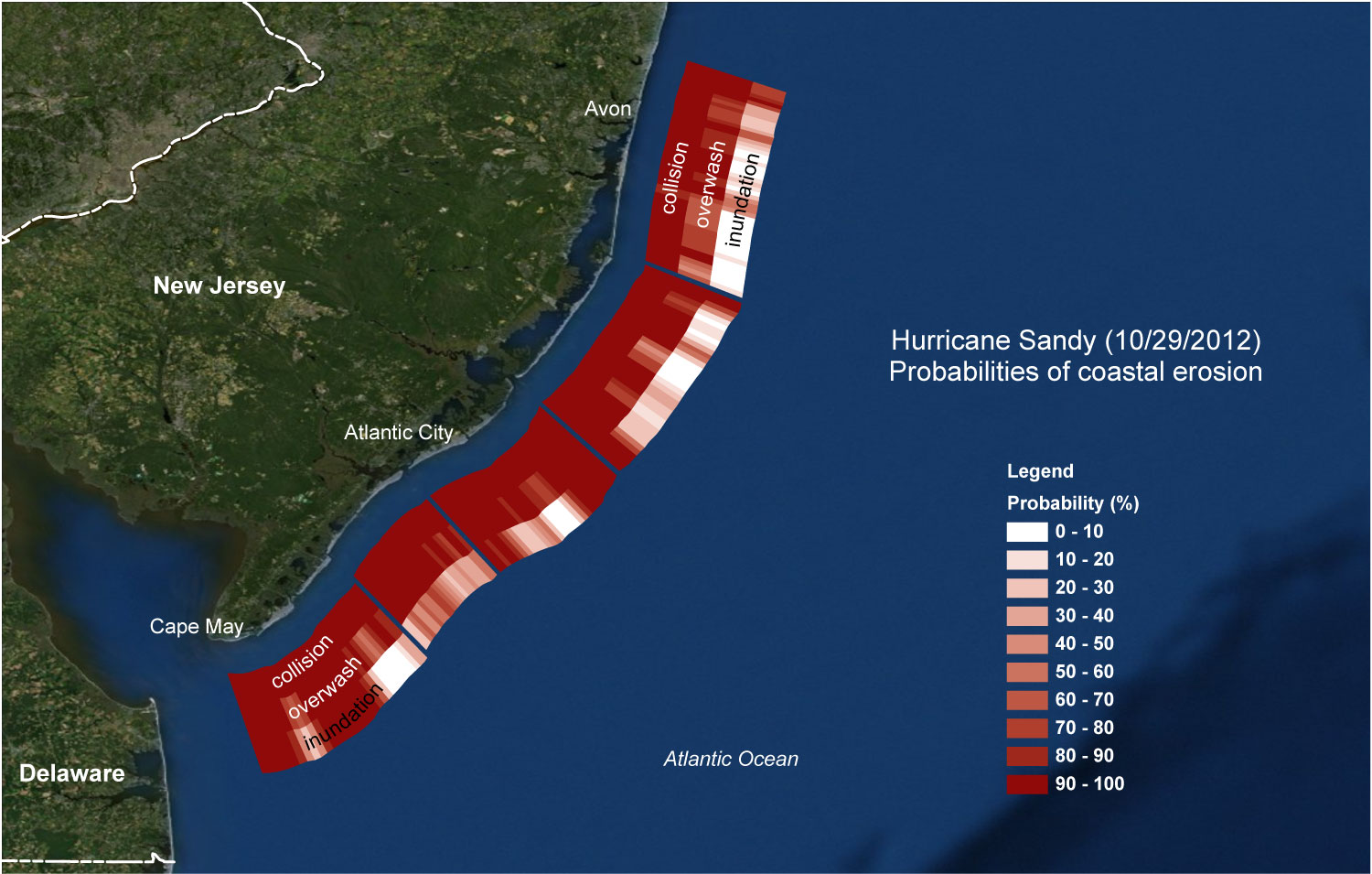 Probabilities of collision, overwash, and inundation for Sandy for the Atlantic coast of New Jersey