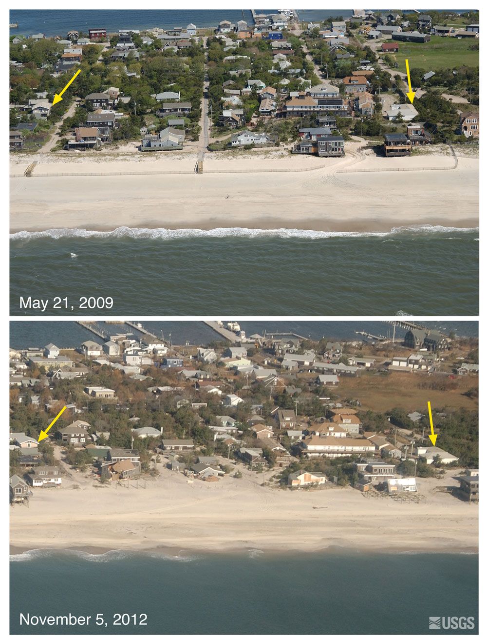 Fire Island pre and post Sandy